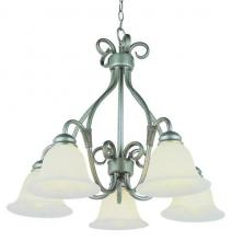 Trans Globe 6396 PW - Five Light Pewter White Marbleized Glass Down Chandelier