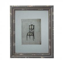 Sterling Industries 128-1029 - Distressed Grey Picture Frame With Antique Chair Print