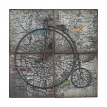 Sterling Industries 129-1105 - Penny Farthing-Penny Farthing Metal Craft Set On Collage Map Of Usa