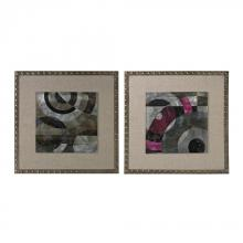 Sterling Industries 26-8683/S2 - Mersey-Contemporary Print On Aluminium Set In Linen And Nail Head Surround