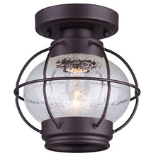 "Canarm IFM636A08ORB - POTTER, IFM636A08ORB, 1 Lt Flush Mount, Seeded Glass, 60W Type A, 7 3/4"" W x 8 1/4"" H"
