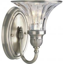Progress P2724-101 - One Light Clear Crystal Glass Classic Silver Bathroom Sconce