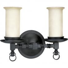 Progress P2753-80 - Two Light Forged Black Jasmine Mist Glass Vanity