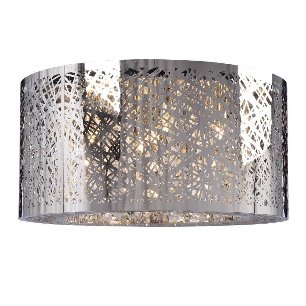 7 Light Flush Mount In Polished Chrome Laser Cut Metal Shade Clear Crystal