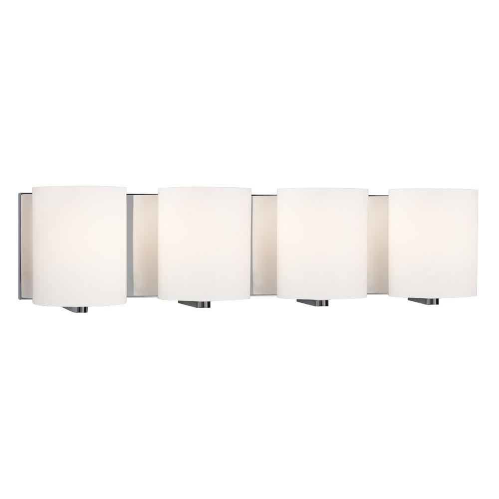 4-Light Vanity Light - Polished Chrome with Satin White Cylinder Glass  sc 1 st  Cartwright Lighting & 4-Light Vanity Light - Polished Chrome with Satin White Cylinder ... azcodes.com