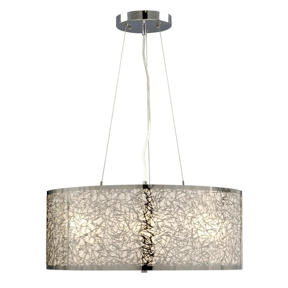 3-Light Pendant in Polished Chrome - Laser-Cut Metal Shade with Glitter Background  sc 1 st  Cartwright Lighting & 3-Light Pendant in Polished Chrome - Laser-Cut Metal Shade with ... azcodes.com