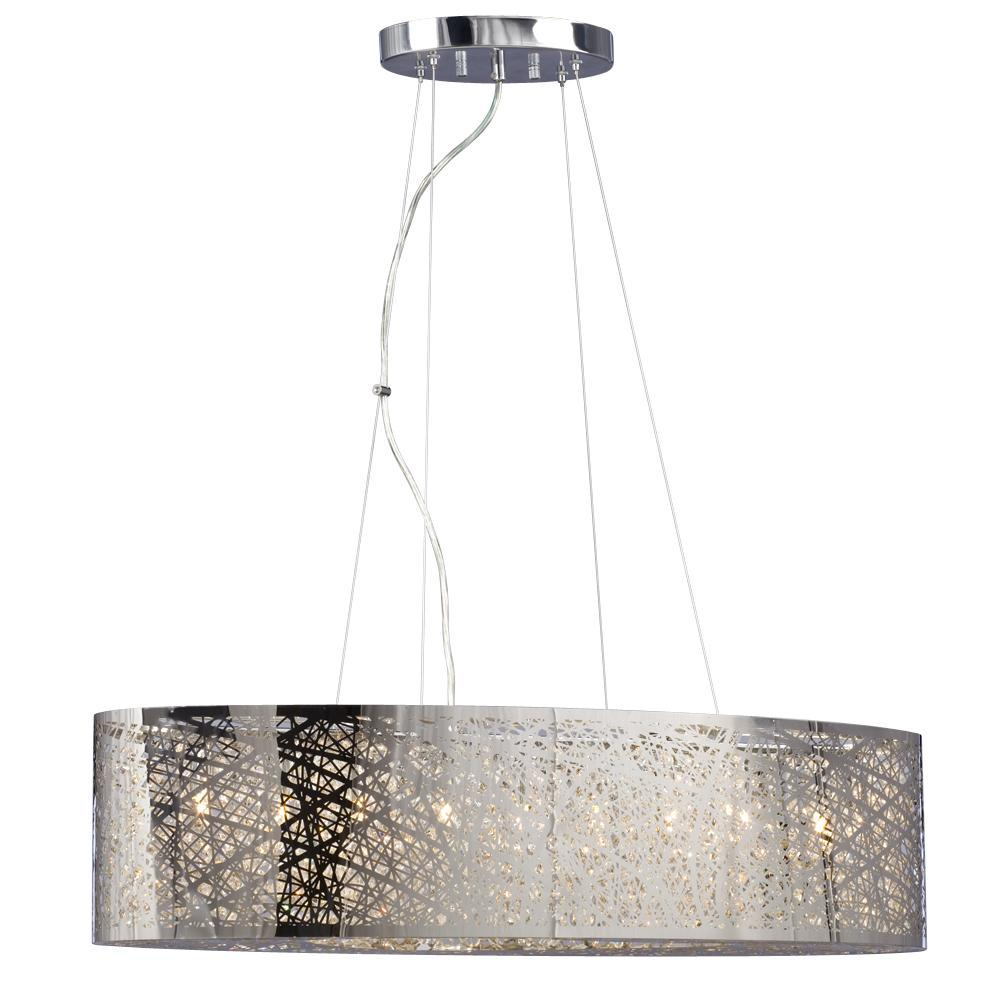 9-Light Oval Pendant in Polished Chrome - Laser Cut Metal Shade u0026 Clear Crystal  sc 1 st  Cartwright Lighting & 9-Light Oval Pendant in Polished Chrome - Laser Cut Metal Shade ... azcodes.com