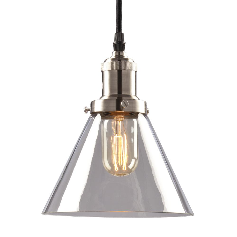 1 light vintage mini pendant in brushed nickel with clear glass 1 light vintage mini pendant in brushed nickel with clear glass shade w aloadofball Image collections