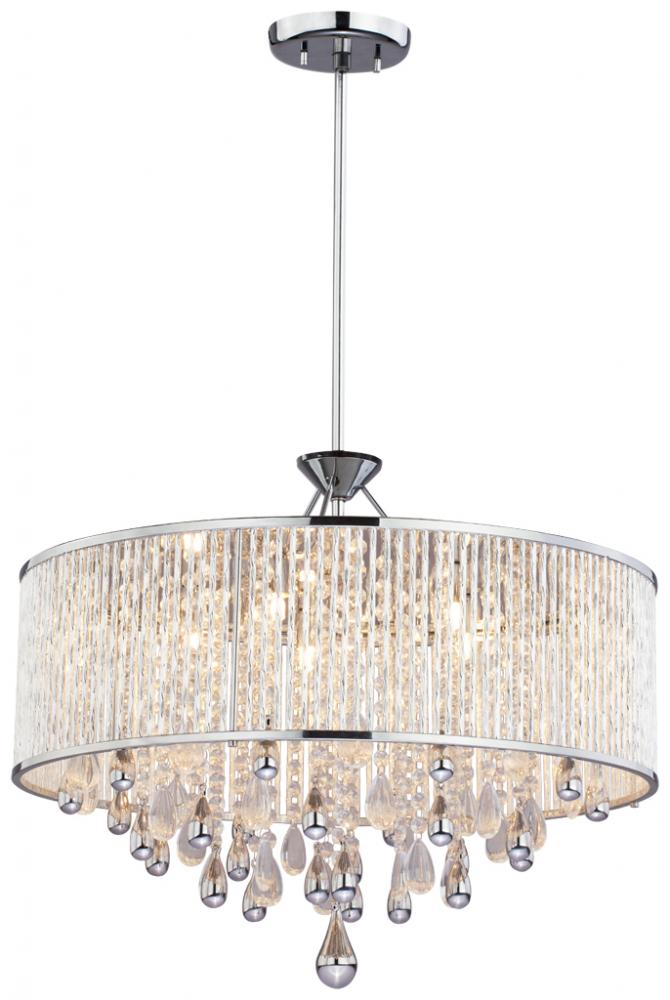 five light chrome clear crystals glass drum shade pendant dvp11020ch. Black Bedroom Furniture Sets. Home Design Ideas