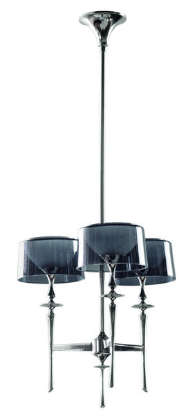 Three Light Polished Nickel Black Glass Up Chandelier