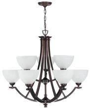 DVI DVP9329ORB-WL - Nine Light White Linen Glass Oil Rubbed Bronze Up Chandelier
