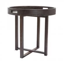 Dimond 784058 - Large Round Black Teak Side Table Tray